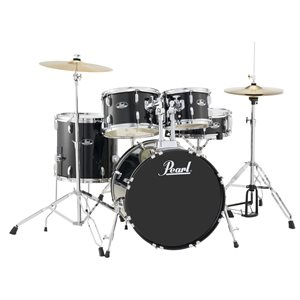 PEARL RS505CC31 ROADSHOW 5-PIECE JET BLACK W/HARDWARE AND CYMBALS (2016BD, 1007T, 1208T, 1414FT, 1405SD)