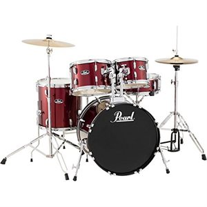 PEARL RS505CC91 ROADSHOW 5-PIECE RED WINE W/HARDWARE AND CYMBALS (2016BD, 1007T, 1208T, 1414FT, 1405SD)