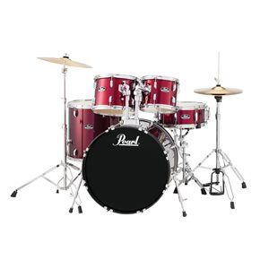 PEARL RS525SCC91 ROADSHOW 5-PIECE RED WINE W/HARDWARE AND CYMBALS (2216BD, 1008T, 1209T, 1616FT, 1455SD)