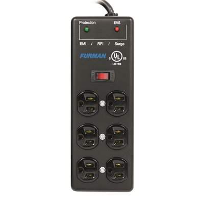 FURMAN SS-6B-PRO 5A AC SURGE STRIP 6 OUTLET 2X3 BLOCK WITH EXTREME VOLTAGE SHUTDOWN, METAL CHASSIS, 15-FT CORD