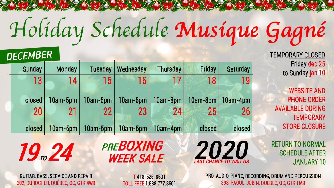 Holiday Schedule 2020
